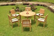 Napa Agrade Teak Wood 7pc Dining 48 Round Table Stacking Arm Chair Outdoor Set