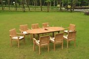 Napa A-grade Teak Wood 9 Pc Dining 94 Mas Oval Table 8 Stacking Arm Chair Set