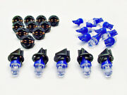 15 Blue Domes Leds Lights Bulbs 1/2 Sockets Instrument Panel Dashboard Ford