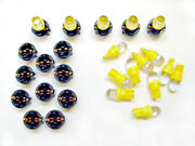15 Amber Domes Leds Lights Bulbs 1/2 Sockets Instrument Panel Dash For Imports