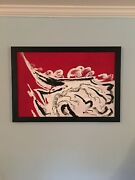 """Jack Carl Anderson Artist Signed Painting, Red, White, And Black 33"""" W X 23"""" T"""