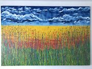 Wildflower Meadow Pollock Style Original Painting Large Canvas