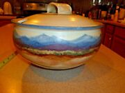 FW Signed Studio  Art Pottery Landscape Pottery Mountains Soup Tureen Large Bowl