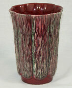 Vtg Aborn California Art Pottery Vase H-5 Ceramic Tree Bark Texture Red Wine