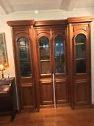 Handcrafted Ginger Mahogany Fireplace Mantle And China Cabinet