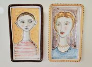 """Vintage Italy Portrait Pottery MOTHER & SON ~Set of 2 Mid Century Unusual 7 1/8"""""""