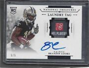 Brandin Cooks 2014 National Treasures Laundry Tag Patch On Card Auto Rc D 5/5