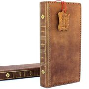 Genuine Leather Case For Samsung Galaxy Note 8 Bible Book Wallet Soft Cover Soft