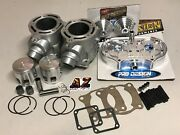 Banshee 350 Raw 64 Stock Bore Cylinders Pro Design Head Domes Kit Wiseco Pistons