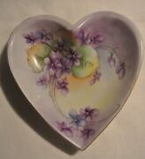 Vintage Hand Painted Heart Dish with Violets & Gold Trim Schumann Germany