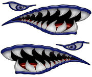 Flying Tigers Shark Teeth Decals Blue Wwii Motorcycle Truck Car Boat Reflective