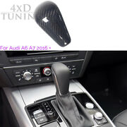 Car-styling Gear Knob Fin Cover Trim For Audi A6 A7 Real Carbon Fiber 2016-up