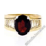 18k Yellow Gold Oval Faceted Garnet Solitaire 1.18ctw Baguette Step Diamond Ring