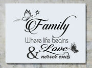 Family Where Life Begins And Love Never Ends Wall Decal Art Sticker Picture