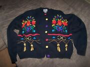 Very Nice Ladies Floral Sweater W/ Sparkle Yarn By I.v.y. Size M In Great Shape