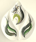 Mid Century Modern ITALY Art Pottery Divided Dish Plate Green Ivory Vintge VGUC