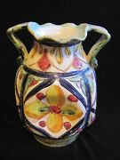 Contemporay Italy ceramic pottery pinched vase 1 of a kind artisan hand painted