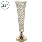 2 Gold Metal 22 Tall Faux Crystal Beaded Trumpet Vases Wedding Centerpieces