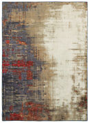 Ivory Faded Crosshatch Scratched Banded Contemporary Area Rug Abstract 8001a