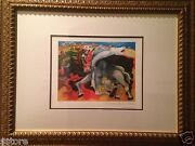 Picasso's Lithograph Limited Edition Bull Fight, Death Of A Torreador Framed