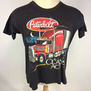 Rare Vintage Peterbilt Paper Thin Distressed Trucker Motorcycle T Shirt 3d Style
