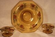 Depression Amber Eight Sided Rolled Edge Console Bowl W/ Matching Candle Holders