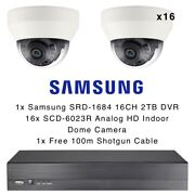 Samsung 16 Camera Dome Kit Analog Hd 1080p Indoor And 2tb 16ch Dvr Recorder Cctv
