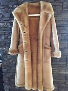 Long Shearling Pure Virgin Woolwomenand039s Coat In Light Brown In Excellent Shape.