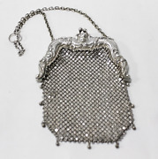 Antique Sterling Silver Chain Link Purse Repousse Angle Frame