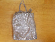 Antique Silver Mesh 1920s Flapper Purse Evening Bag With Chain