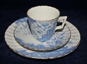 Antique Burgess And Leigh Burslem Cup Saucer And Plate 1906-12 Blue Floral Swirl