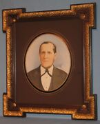 Antique Oil Portrait Of Stately Gentleman In Wood And Gesso Angle Extension Frame