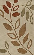Brown Leaves Branches Vines Flowers Transitional Area Rug Floral Tr1