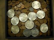100 Mixed Us Wheat Cents And 1 One Lustrous Us Peace Dollar From Vintage Hoard