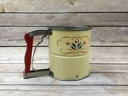 Vintage Androck 3 Screens Hand-i-sift Flour Sifter Tulip Design Made In Usa