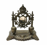 Antique Victorian Inkwell Mirror Brass Dual Wells Stand Vintage Ornate