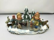 Hummel Icy Adventure Scape With 2058 A/b Figurines Mint In A Box