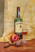 Painting Oil On Canvas Still Life Drawing Art Restaurant Whiskey Realism Framed