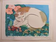 Walasse Ting Cat With Flowers Rare Lithograph Limited Edition 44/2001984