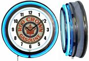 Red Crown Gasoline Sign 19 Double Neon Clock Man Cave Garage Red Or Blue Neon