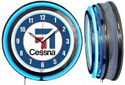 Cessna Aircraft Sign 19 Double Neon Clock Airplane Aviation Chrome Finish