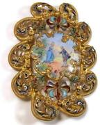 Antique Victorian Gilt Bronze Brooch Pin W/ Hand Painted Enamel Courting Couple