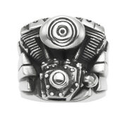 925 Sterling Silver Solid Twin Cam Harley Motorcycle Engine Men Ring