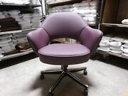 Knoll Saarinen Executive Arm Chairs In Purple Leather Designed C1957 Only1 Left