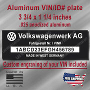 Classic Volkswagen Vin Data Plate Reproduction With Custom Engraving Included