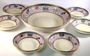 Antique Nippon Noritake Hand Painted Arts And Crafts Berry Set Master Bowl And 6 Ind