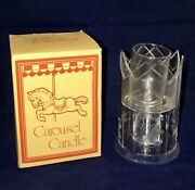 Beautiful Horse And Carousel Hard Plastic And Glass Candle Holder Nice Clean In Box