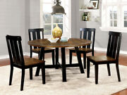 Casual 5 Pc Two Tone Round Dining Table Set Antique Oak And Black Dining Furniture
