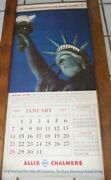 1945 Allis Chalmers Tractor Large Calendar Woman Wwii Pilot Statue Of Liberty