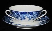 Verbano Industria Argentina Blue And White Flowers Cream Soup Bowl With Liner